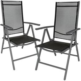 TecTake Aluminium Klappstuhl Gartenstuhl Set verstellbar mit Armlehnen - Diverse Farben und Mengen (Anthrazit | 2er Set | Nr. 401633) - 1