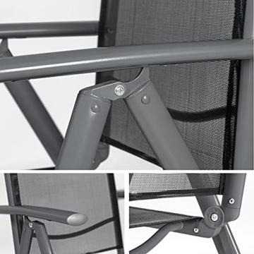 TecTake Aluminium Klappstuhl Gartenstuhl Set verstellbar mit Armlehnen - Diverse Farben und Mengen (Anthrazit   2er Set   Nr. 401633) - 4