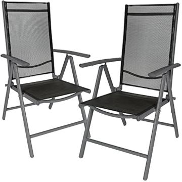 TecTake Aluminium Klappstuhl Gartenstuhl Set verstellbar mit Armlehnen - Diverse Farben und Mengen (Anthrazit   2er Set   Nr. 401633) - 1