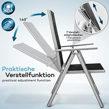 tillvex Gartenstuhl 2er Set klappbar aus Aluminium   Hochlehner mit Armlehnen   Klappstuhl verstellbar   Klappsessel Balkon Garten Terrasse (Silber) - 2