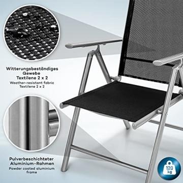 tillvex Gartenstuhl 2er Set klappbar aus Aluminium   Hochlehner mit Armlehnen   Klappstuhl verstellbar   Klappsessel Balkon Garten Terrasse (Silber) - 3