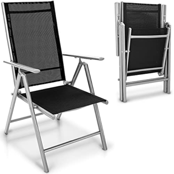 tillvex Gartenstuhl 2er Set klappbar aus Aluminium   Hochlehner mit Armlehnen   Klappstuhl verstellbar   Klappsessel Balkon Garten Terrasse (Silber) - 1