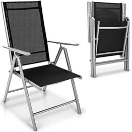 tillvex Gartenstuhl klappbar aus Aluminium | Hochlehner mit Armlehnen | Klappstuhl verstellbar | Klappsessel Balkon Garten Terrasse (Silber) - 1