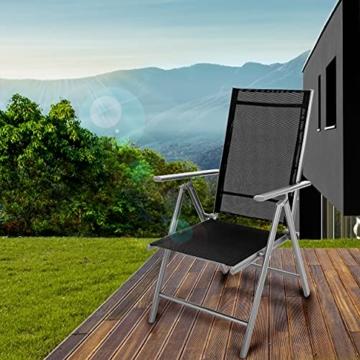 tillvex Gartenstuhl klappbar aus Aluminium   Hochlehner mit Armlehnen   Klappstuhl verstellbar   Klappsessel Balkon Garten Terrasse (Silber) - 6