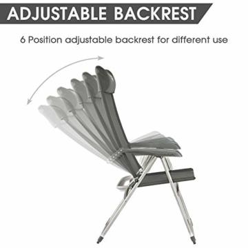Timber Ridge Klappstuhl Gartenstuhl Aluminium hoch Rückenlehne verstellbar mit Armlehnen und Kopfstütze leicht aus Atmungsaktivem Stoff bis 120kg belastbar 48x43x114cm Dunkelgrau - 4
