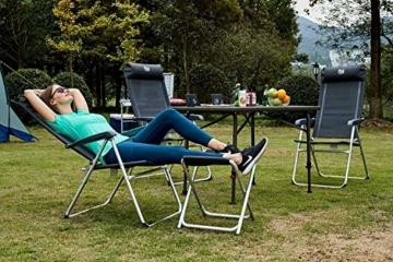 Timber Ridge Klappstuhl Gartenstuhl Aluminium hoch Rückenlehne verstellbar mit Armlehnen und Kopfstütze leicht aus Atmungsaktivem Stoff bis 120kg belastbar 48x43x114cm Dunkelgrau - 6