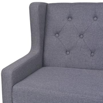 vidaXL Sofa 2-Sitzer Stoff Skandinavisch Grau Polstersofa Loungesofa Sitzmöbel - 5