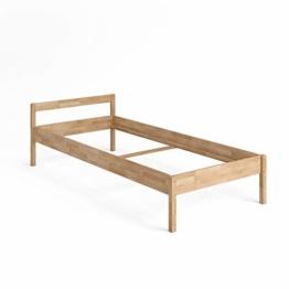 VitaliSpa Bettgestell Holzbett Lorenzo Einzelbett mit Kopfteil Bett Holz (90x200cm) - 1