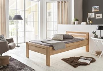 WOODLIVE DESIGN BY NATURE Massivholz-Bett aus Kernbuche, als Seniorenbett geeignet, in Komforthöhe, geöltes Einzel- und Komfortbett mit Kopfteil (90 x 200 cm) - 2