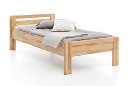 WOODLIVE DESIGN BY NATURE Massivholz-Bett aus Kernbuche, als Seniorenbett geeignet, in Komforthöhe, geöltes Einzel- und Komfortbett mit Kopfteil (90 x 200 cm) - 1