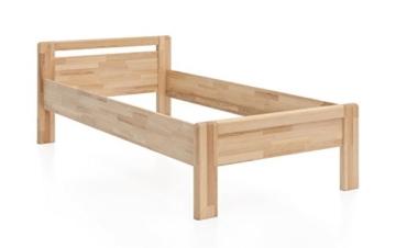 WOODLIVE DESIGN BY NATURE Massivholz-Bett aus Kernbuche, als Seniorenbett geeignet, in Komforthöhe, geöltes Einzel- und Komfortbett mit Kopfteil (90 x 200 cm) - 6