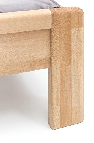 WOODLIVE DESIGN BY NATURE Massivholz-Bett aus Kernbuche, als Seniorenbett geeignet, in Komforthöhe, geöltes Einzel- und Komfortbett mit Kopfteil (90 x 200 cm) - 7