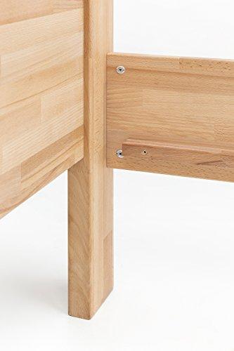 WOODLIVE DESIGN BY NATURE Massivholz-Bett aus Kernbuche, als Seniorenbett geeignet, in Komforthöhe, geöltes Einzel- und Komfortbett mit Kopfteil (90 x 200 cm) - 9