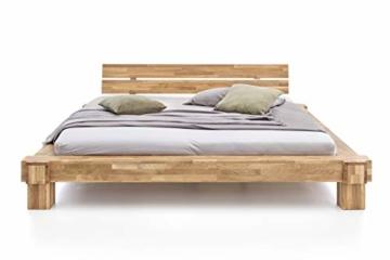 WOODLIVE DESIGN BY NATURE Massivholz-Bett Kavas aus Wildeiche, Balkenbett, massives Holzbett als Doppel- und Komfortbett verwendbar (200 x 200 cm) - 2