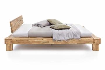 WOODLIVE DESIGN BY NATURE Massivholz-Bett Kavas aus Wildeiche, Balkenbett, massives Holzbett als Doppel- und Komfortbett verwendbar (200 x 200 cm) - 3