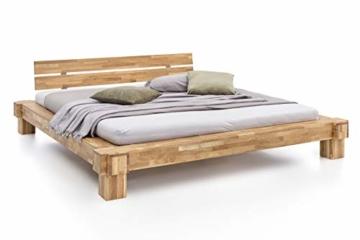 WOODLIVE DESIGN BY NATURE Massivholz-Bett Kavas aus Wildeiche, Balkenbett, massives Holzbett als Doppel- und Komfortbett verwendbar (200 x 200 cm) - 1