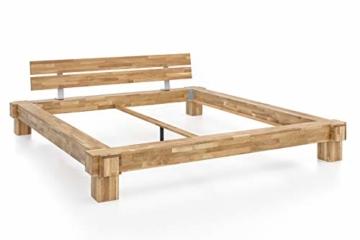 WOODLIVE DESIGN BY NATURE Massivholz-Bett Kavas aus Wildeiche, Balkenbett, massives Holzbett als Doppel- und Komfortbett verwendbar (200 x 200 cm) - 5