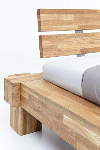 WOODLIVE DESIGN BY NATURE Massivholz-Bett Kavas aus Wildeiche, Balkenbett, massives Holzbett als Doppel- und Komfortbett verwendbar (200 x 200 cm) - 6