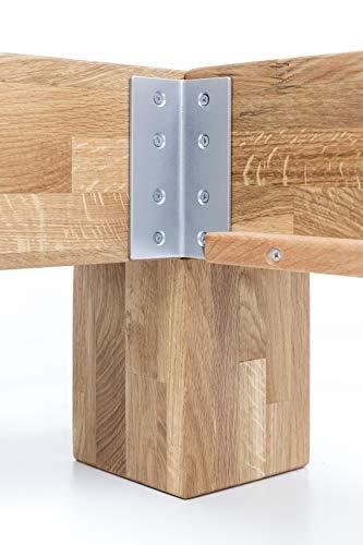 WOODLIVE DESIGN BY NATURE Massivholz-Bett Kavas aus Wildeiche, Balkenbett, massives Holzbett als Doppel- und Komfortbett verwendbar (200 x 200 cm) - 8