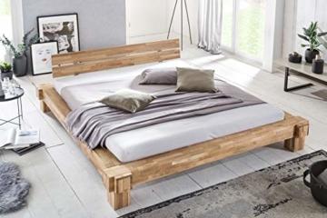 WOODLIVE DESIGN BY NATURE Massivholz-Bett Kavas aus Wildeiche, Balkenbett, massives Holzbett als Doppel- und Komfortbett verwendbar (200 x 200 cm) - 9