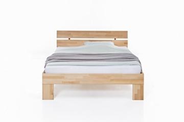 WOODLIVE DESIGN BY NATURE Massivholz-Bett Nano 140 x 200 cm aus Kernbuche, Doppelbett, als Ehebett verwendbar, inkl. Rückenlehne, 1 Bett á 140 x 200 cm - 2
