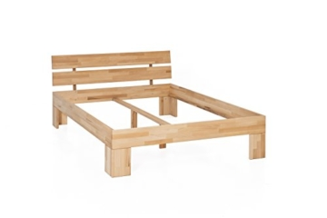 WOODLIVE DESIGN BY NATURE Massivholz-Bett Nano 140 x 200 cm aus Kernbuche, Doppelbett, als Ehebett verwendbar, inkl. Rückenlehne, 1 Bett á 140 x 200 cm - 3