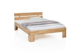WOODLIVE DESIGN BY NATURE Massivholz-Bett Nano 140 x 200 cm aus Kernbuche, Doppelbett, als Ehebett verwendbar, inkl. Rückenlehne, 1 Bett á 140 x 200 cm - 1