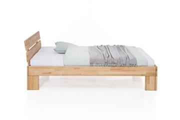 WOODLIVE DESIGN BY NATURE Massivholz-Bett Nano 140 x 200 cm aus Kernbuche, Doppelbett, als Ehebett verwendbar, inkl. Rückenlehne, 1 Bett á 140 x 200 cm - 4