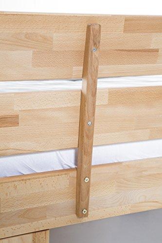 WOODLIVE DESIGN BY NATURE Massivholz-Bett Nano 140 x 200 cm aus Kernbuche, Doppelbett, als Ehebett verwendbar, inkl. Rückenlehne, 1 Bett á 140 x 200 cm - 6