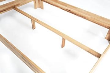 WOODLIVE DESIGN BY NATURE Massivholz-Bett Nano 140 x 200 cm aus Kernbuche, Doppelbett, als Ehebett verwendbar, inkl. Rückenlehne, 1 Bett á 140 x 200 cm - 7