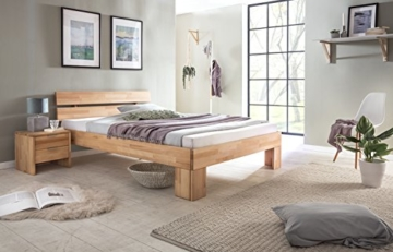 WOODLIVE DESIGN BY NATURE Massivholz-Bett Nano 140 x 200 cm aus Kernbuche, Doppelbett, als Ehebett verwendbar, inkl. Rückenlehne, 1 Bett á 140 x 200 cm - 9