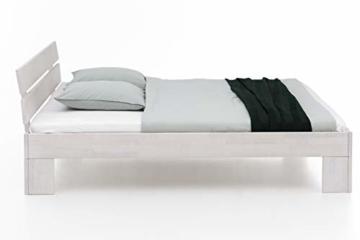 WOODLIVE DESIGN BY NATURE Massivholz-Bett Nano weiß 160 x 200 cm aus Kernbuche, Doppelbett, als Ehebett verwendbar, inkl. Rückenlehne, 1 Bett á 160 x 200 cm - 2