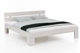 WOODLIVE DESIGN BY NATURE Massivholz-Bett Nano weiß 160 x 200 cm aus Kernbuche, Doppelbett, als Ehebett verwendbar, inkl. Rückenlehne, 1 Bett á 160 x 200 cm - 1