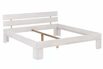 WOODLIVE DESIGN BY NATURE Massivholz-Bett Nano weiß 160 x 200 cm aus Kernbuche, Doppelbett, als Ehebett verwendbar, inkl. Rückenlehne, 1 Bett á 160 x 200 cm - 4