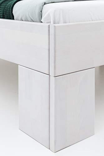 WOODLIVE DESIGN BY NATURE Massivholz-Bett Nano weiß 160 x 200 cm aus Kernbuche, Doppelbett, als Ehebett verwendbar, inkl. Rückenlehne, 1 Bett á 160 x 200 cm - 5