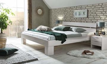 WOODLIVE DESIGN BY NATURE Massivholz-Bett Nano weiß 160 x 200 cm aus Kernbuche, Doppelbett, als Ehebett verwendbar, inkl. Rückenlehne, 1 Bett á 160 x 200 cm - 9