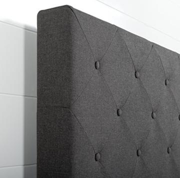 ZINUS Shalini 35 cm Gepolstertes Rahmenbettgestell | Lattenrost | Holzlattenunterstützung | Für Erwachsene, Kinder, Jugendliche | Einfache Montage | 90 x 200 cm | Dunkelgrau - 2