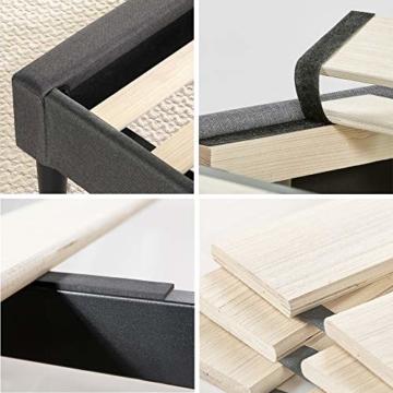 ZINUS Shalini 35 cm Gepolstertes Rahmenbettgestell | Lattenrost | Holzlattenunterstützung | Für Erwachsene, Kinder, Jugendliche | Einfache Montage | 90 x 200 cm | Dunkelgrau - 7